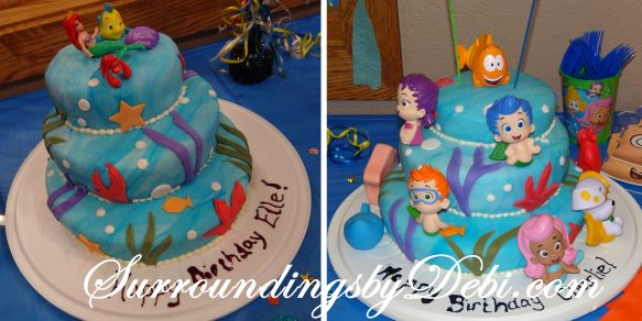 Bubble Guppie / Ariel Birthday Party Cakes