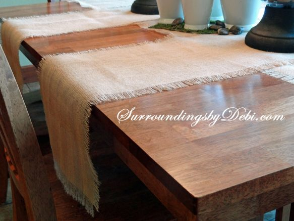 How to Create Simple Burlap Table Runner - Surroundings by Debi
