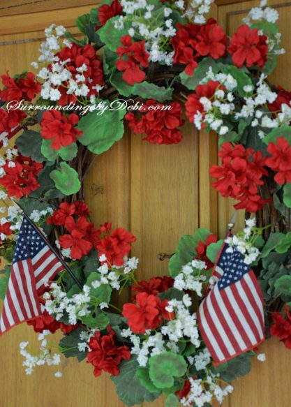Red-Geranium-Flag-Wreath