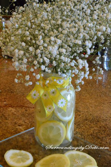 Lemon Vase - Adding the Flowers