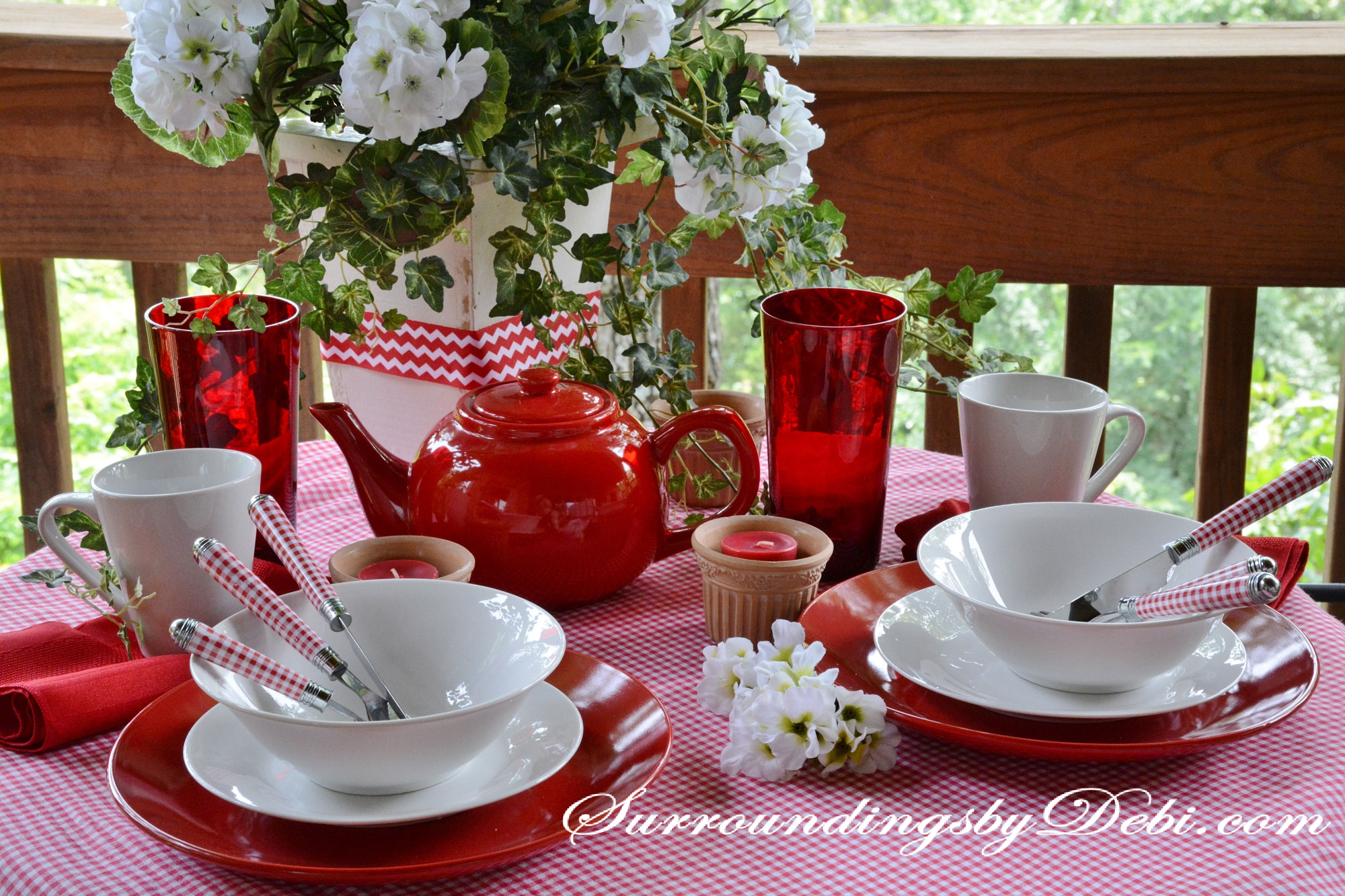 Red gingham tablescape