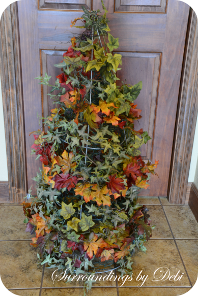 Fall Leaves Added to Tomato Cage Topiary