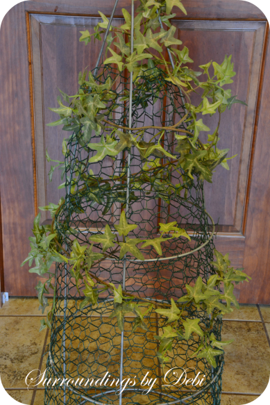 Ivy Added to Tomato Cage Topiary