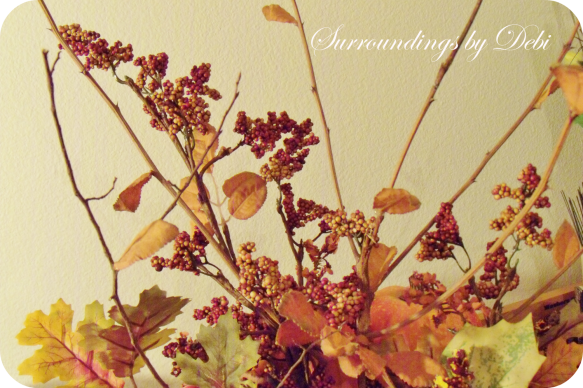 Adding Branches to Fall Faux Arrangement
