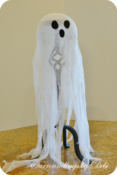 Adding eyes to the Cheesecloth Candlestick Ghost