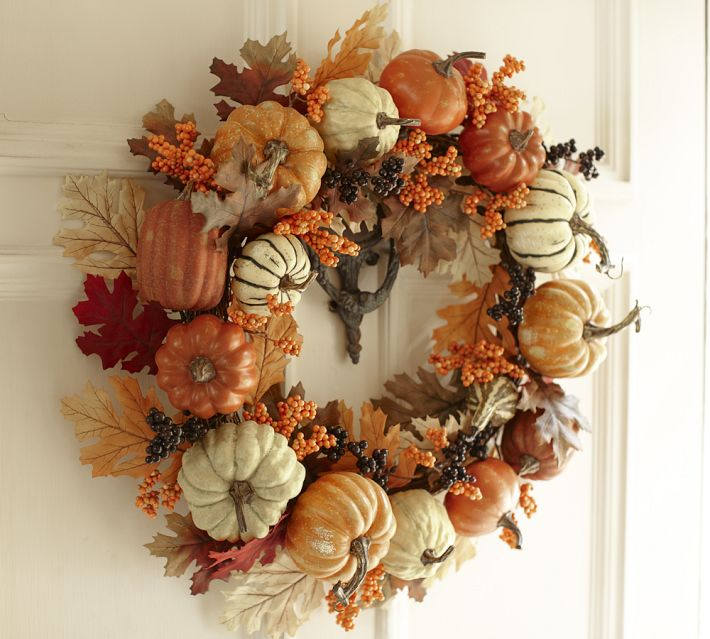 Welcome Guests With Fall Door Decorations: Pottery Barn Inspired Harvest Pumpkin Wreath