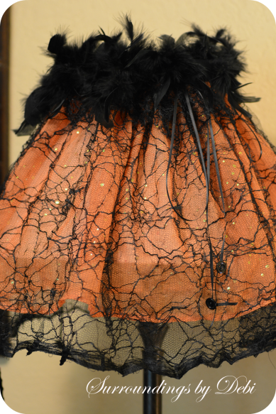 Buttons and Bows on a Halloween Lampshade