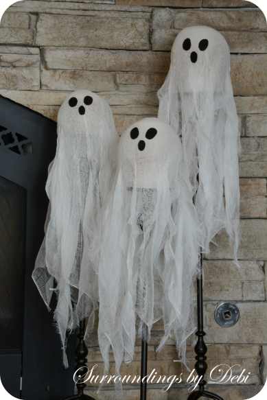Cheesecloth Candlestick Ghosts Arranged