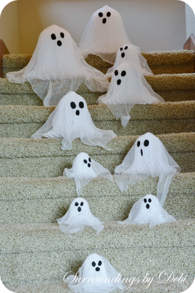 Cheesecloth and Paper Bell Ghoasts Headed Down the Stairs