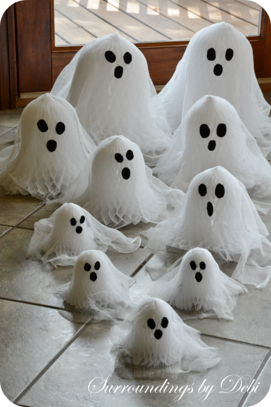Cheesecloth and Paper Bell Ghosts Adorable Faces