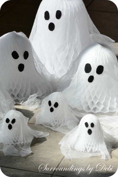 Cheesecloth and Paper Bell Ghosts Basking