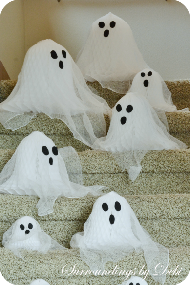 Cheesecloth Paper Bell Ghosts Down the Stairs