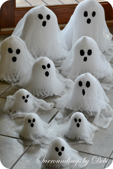 Cheesecloth and Paper Bell Ghosts Headed in the Door