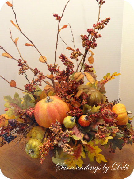 Completed Faux Fall Arrangment - Update Your Silk Arrangement