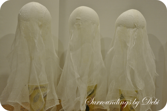 Drying Cheesecloth Candlestick Ghosts