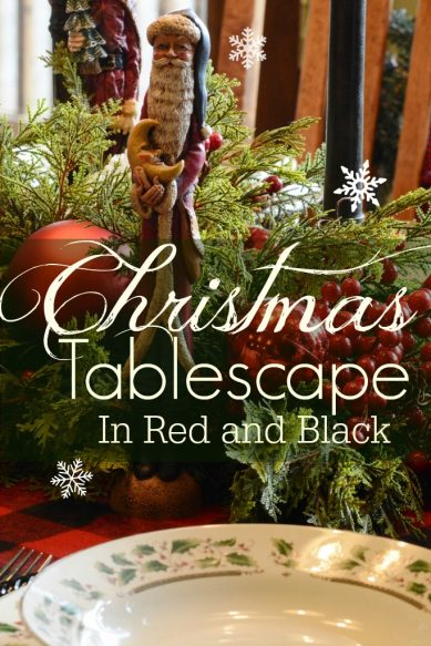 Christmas Tablescape in red and Black Overlay