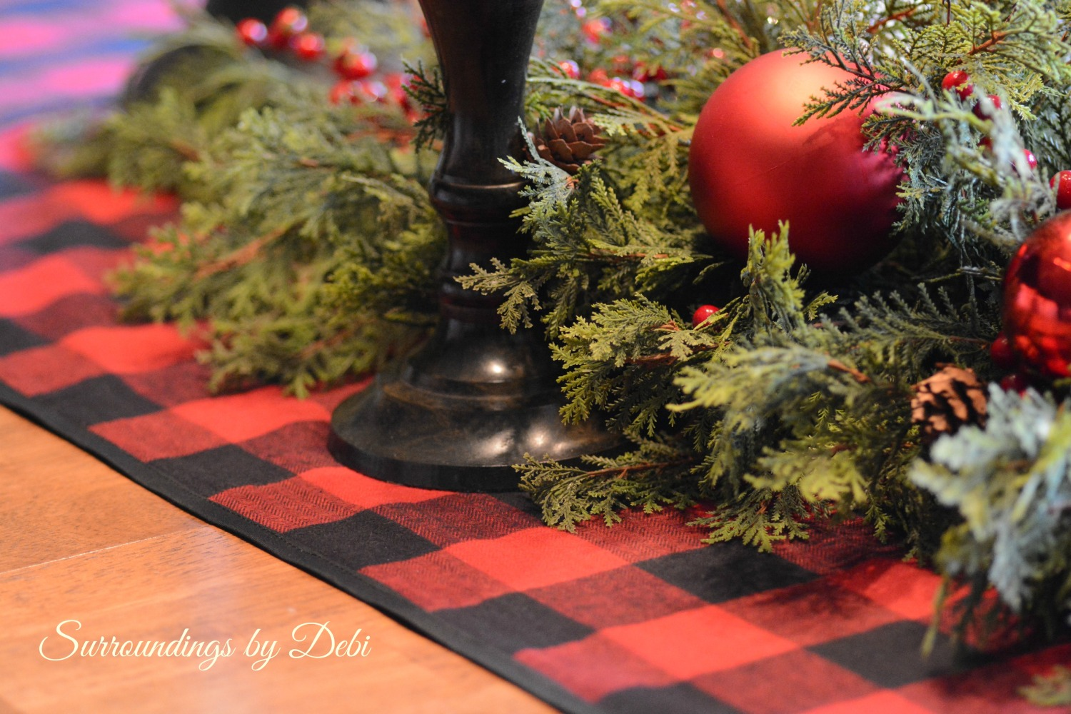 Christmas Tablescape in Red and Black