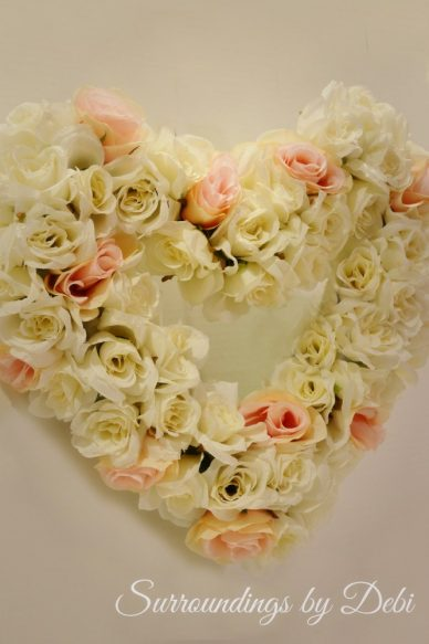 Pier 1 imports inspired rose heart wreath in pink and white
