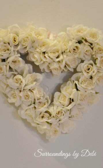 Pier 1 imports Inspired Faux Rose Heart Wreath in White