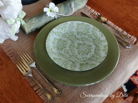 Green Toile Decoupage Plate