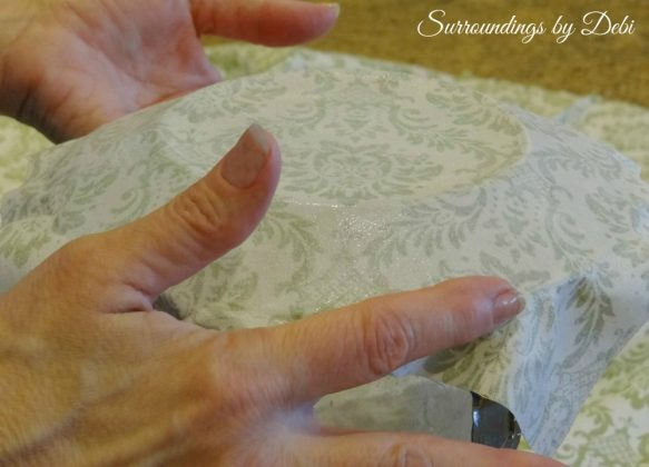Smoothing out the Fabric on Decoupage Fabric Glass Plates