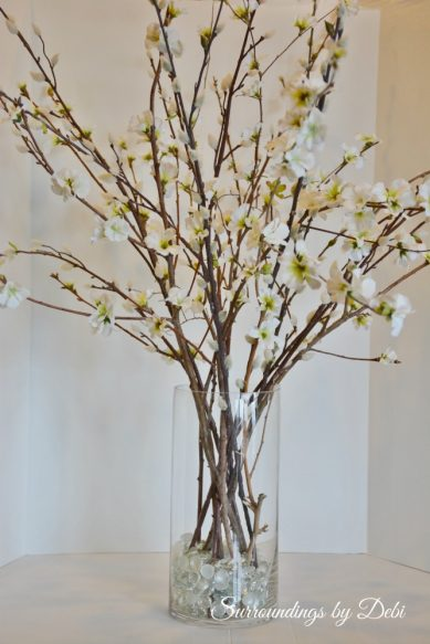 Faux Cherry Blossom Branches Vase