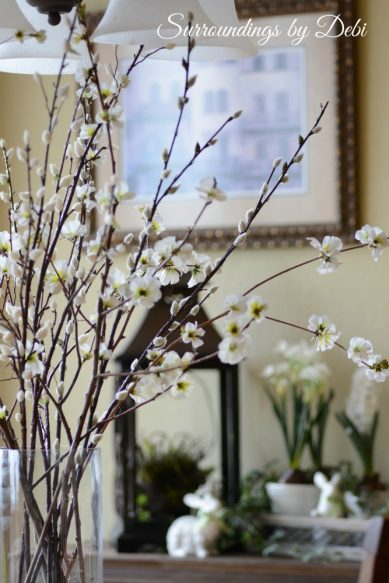 White Blossom and Pussywillow Branch Vase