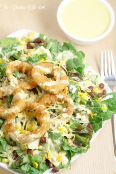 Onion-Ring-Southwest-Salad-with-Spicy-Honey-Mustard-5