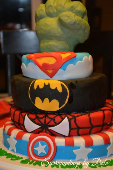 Superhero Party Cake
