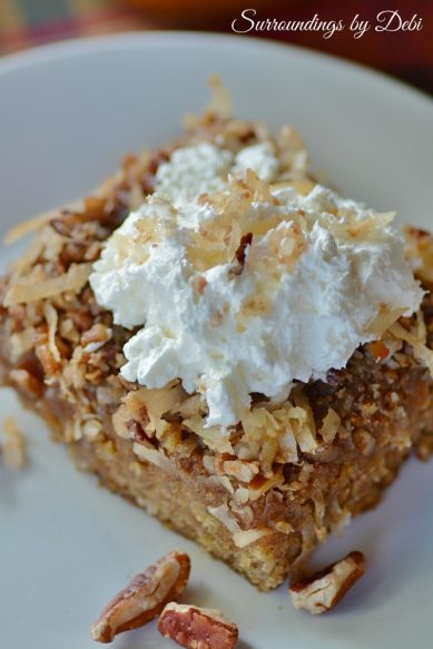 Oatmeal Cake with Coconut Praline Topping Overview
