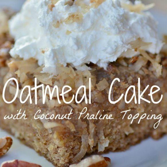 Oatmeal Cake with Coconut Praline Topping