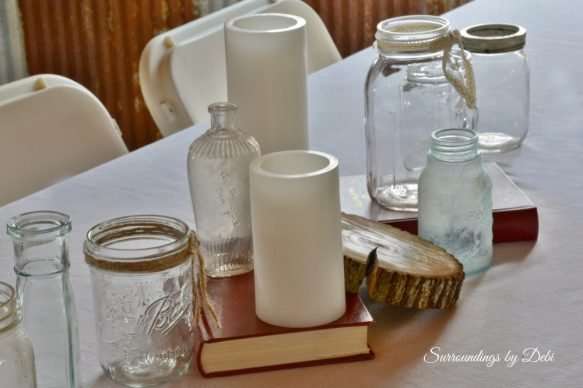 Rustic Wedding Table Decor Jars