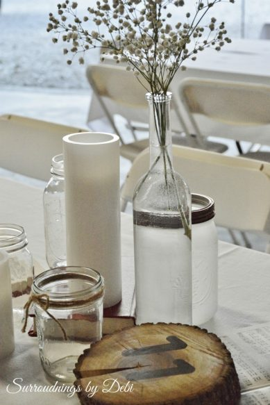 Rustice Wedding Table Decor with Baby's Breath