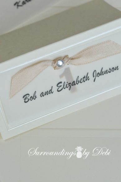 Escort Card with Added Rhinestone