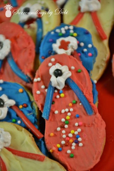 Beach Party Sandal Cookie - Surroundings by Debi