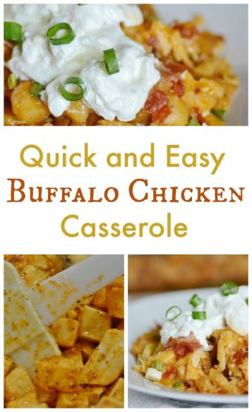 Easy Buffalo Chicken Casserole for Pinterest