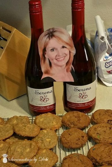 Flat Debi Enjoying WIne and Cookies