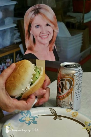 Flat Debi Enjoying a Chicken Salad Sandwich and Root Beer