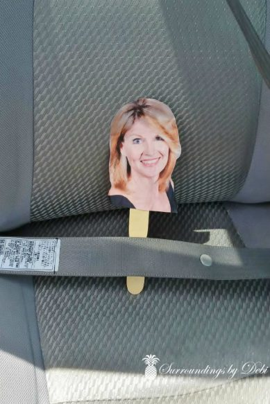 Flat Debi Safe in her Seatbelt
