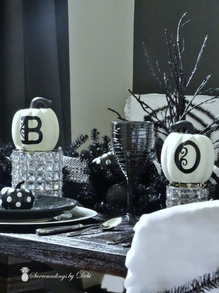 Black Wine Glasses for Halloween Dining Room - SUrroundings by Debi