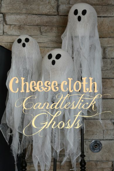 Cheesecloth Candlestick Ghosts Overlay Tall