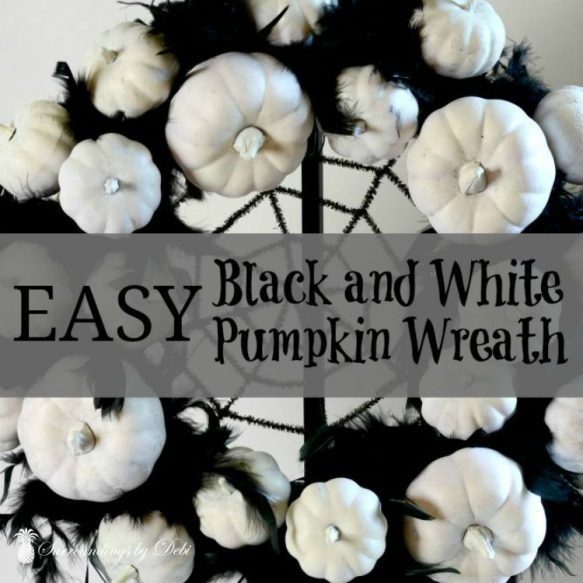 Easy Black and White Pumpkin Wreath - Create this wonderful Halloween wreath with this great tutorial from Surroundings by Debi