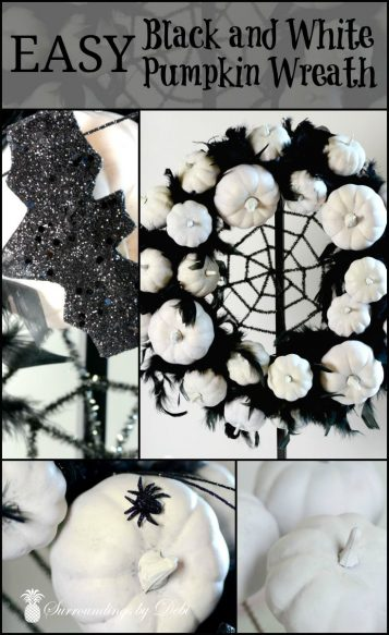 Easy Blcak and White Pumpkin Wreath - Create this wonderful Halloween wreath with this great tutorial from Surroundings by Debi