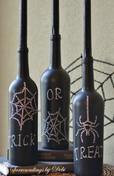 Halloweeen Chalkboard Wine Bottle Candlesticks
