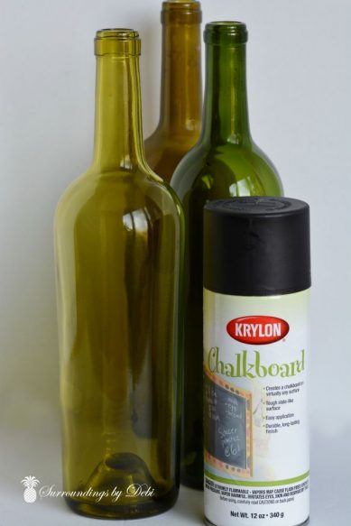 Halloween Chalkboard Wine Bottles with A bit of Bling Beginnings