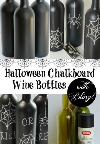 Halloween Chalkboard Wine Bottles with Bling!