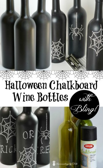 Halloween Chalkboard Wine Bottles with Bling
