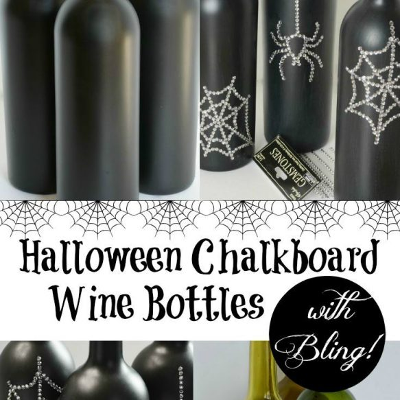 Halloween Chalkboard Wine Bottles with Bling - A fun Halloween Project from Surroundings by Debi