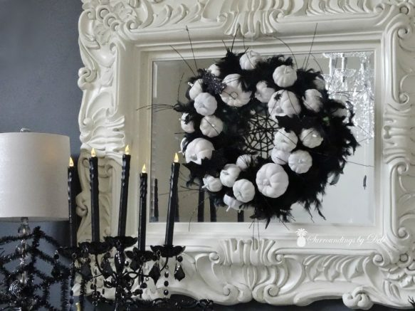 Halloween Dining Room using Black and White Wreath on Mirror Surroundings by Debi