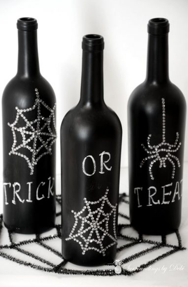 Halloween Chalkboard Wine Bottles with Bling - A fun Halloween project from Surroundings bby Debi